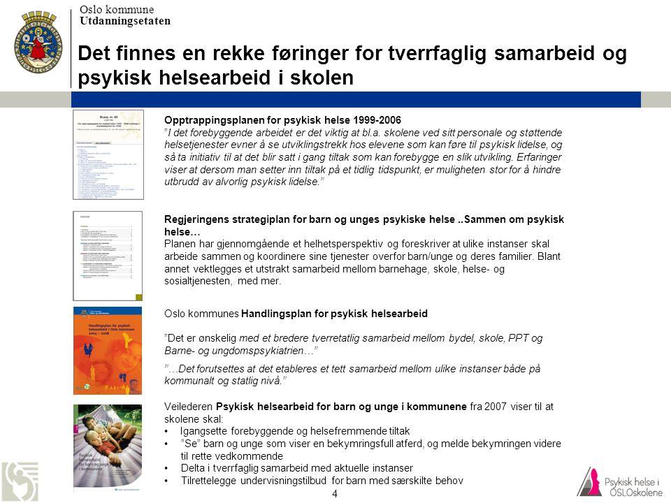 Oslo kommune Utdanningsetaten 4 Det finnes en rekke føringer for tverrfaglig samarbeid og psykisk helsearbeid i skolen Veilederen Psykisk helsearbeid