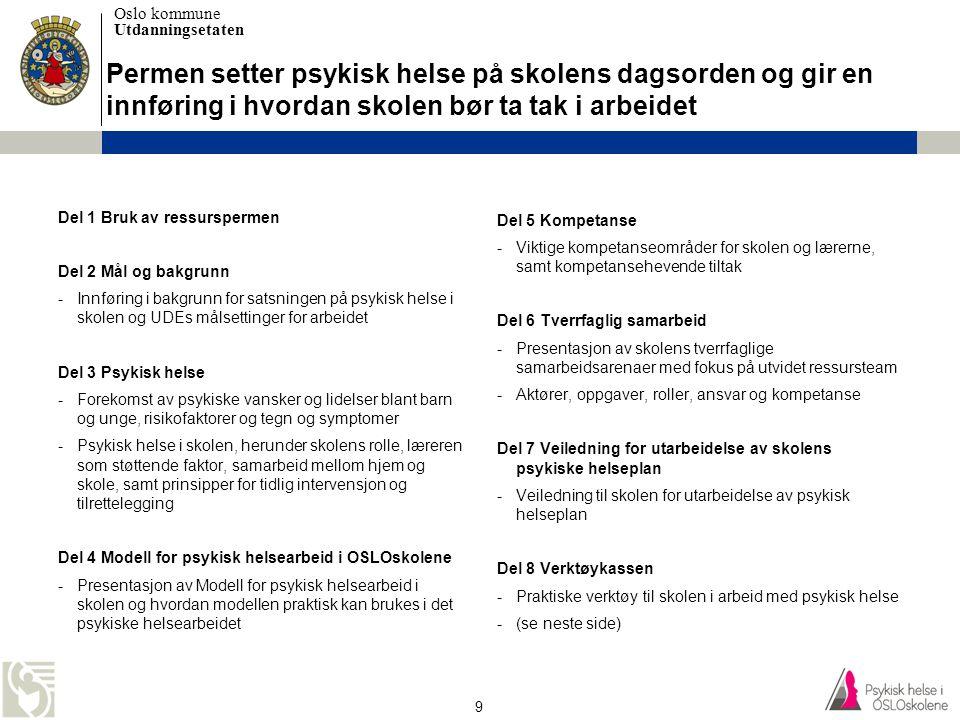 Oslo kommune Utdanningsetaten 10 Verktøykassen (del 8) Type verktøy •God praksis •Faktaark •Maler •Programmer •Ressurssider Innhold i verktøykassen •Del 8.1 Universelt nivå (hele skolesamfunnet) •Del 8.2 Selektert nivå (elever i risiko) •Del 8.3 Indikert nivå (elever med psykiske lidelser) •Del 8.4 Skolens psykiske helseplan •Del 8.5 Tverrfaglig samarbeid i utvidet ressursteam •Del 8.6 Ressurssider