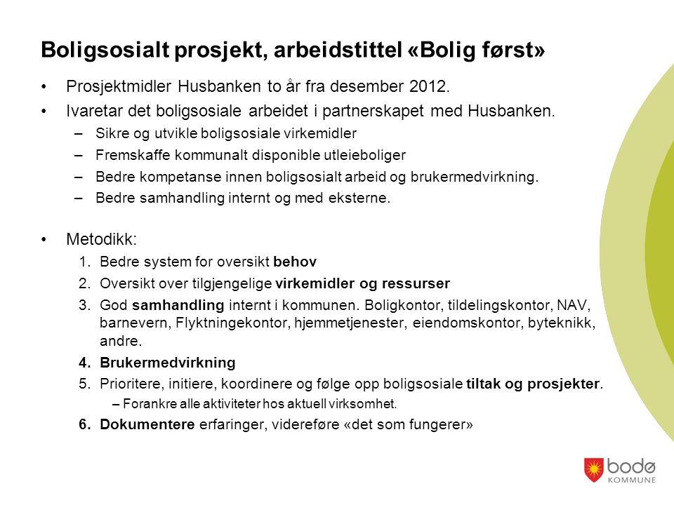 Boligsosialt prosjekt, arbeidstittel «Bolig først» •Prosjektmidler Husbanken to år fra desember 2012.