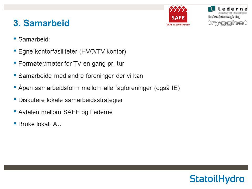 6 3. Samarbeid • Samarbeid: • Egne kontorfasiliteter (HVO/TV kontor) • Formøter/møter for TV en gang pr. tur • Samarbeide med andre foreninger der vi