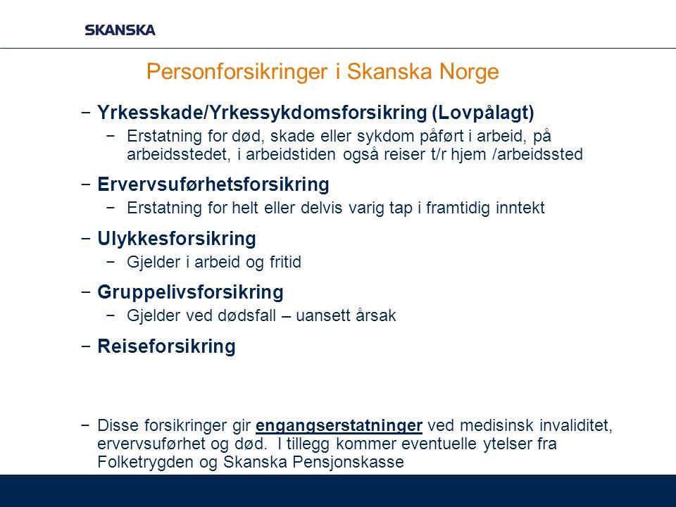 Personforsikringer i Skanska Norge −Yrkesskade/Yrkessykdomsforsikring (Lovpålagt) −Erstatning for død, skade eller sykdom påført i arbeid, på arbeidss