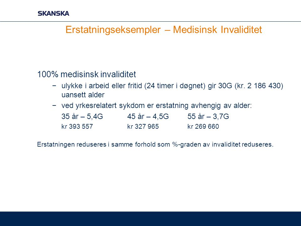 Erstatningseksempler – Medisinsk Invaliditet 100% medisinsk invaliditet −ulykke i arbeid eller fritid (24 timer i døgnet) gir 30G (kr. 2 186 430) uans