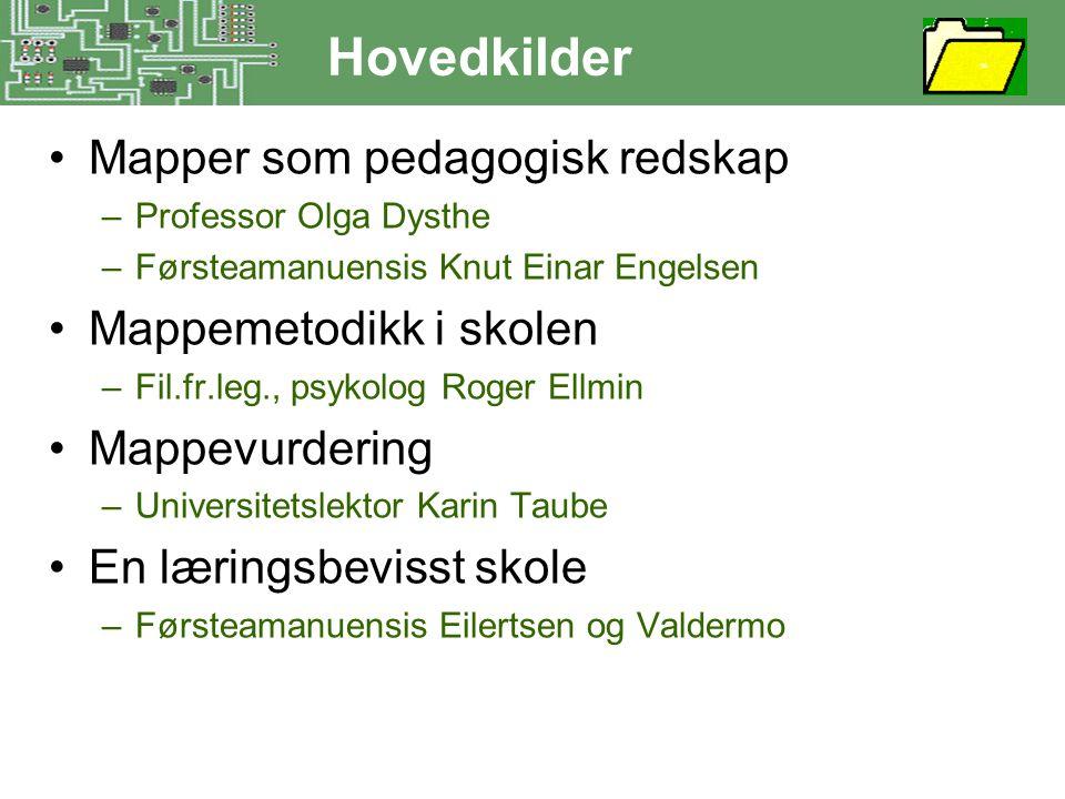 Hovedkilder •Mapper som pedagogisk redskap –Professor Olga Dysthe –Førsteamanuensis Knut Einar Engelsen •Mappemetodikk i skolen –Fil.fr.leg., psykolog
