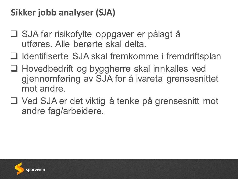 | Sikker jobb analyser (SJA)  SJA før risikofylte oppgaver er pålagt å utføres. Alle berørte skal delta.  Identifiserte SJA skal fremkomme i fremdri