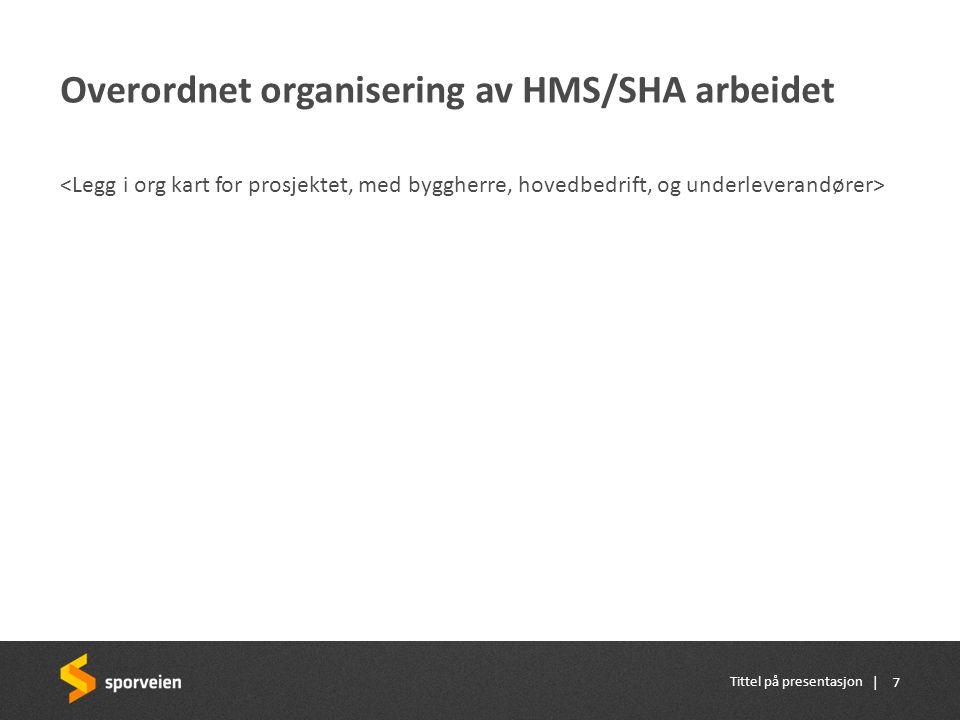 | Overordnet organisering av HMS/SHA arbeidet Tittel på presentasjon 7