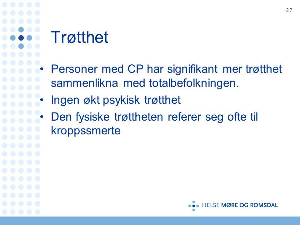 27 Trøtthet •Personer med CP har signifikant mer trøtthet sammenlikna med totalbefolkningen.