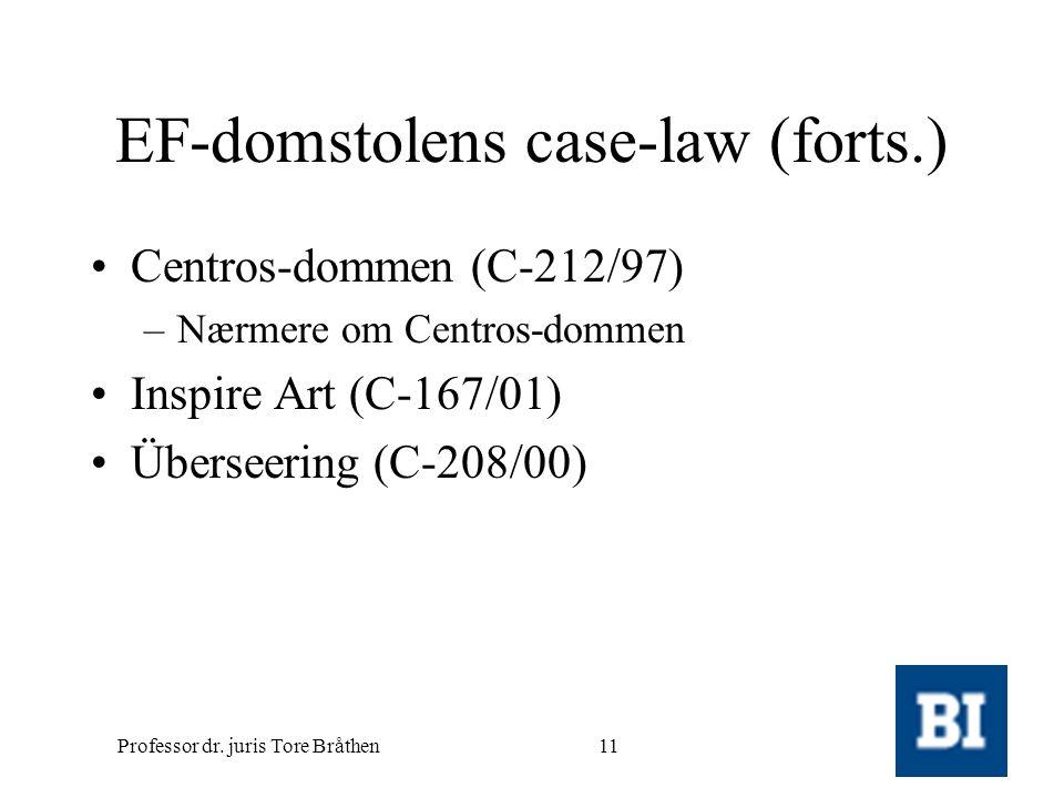 Professor dr. juris Tore Bråthen11 EF-domstolens case-law (forts.) •Centros-dommen (C-212/97) –Nærmere om Centros-dommen •Inspire Art (C-167/01) •Über