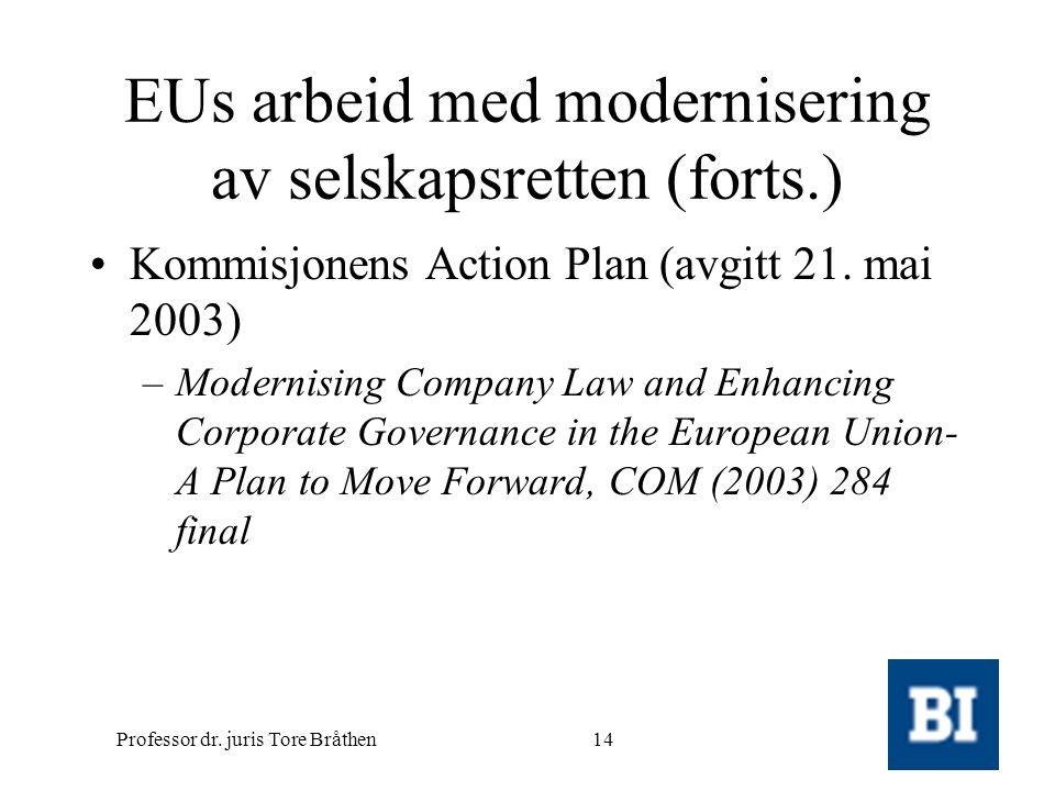 Professor dr. juris Tore Bråthen14 EUs arbeid med modernisering av selskapsretten (forts.) •Kommisjonens Action Plan (avgitt 21. mai 2003) –Modernisin