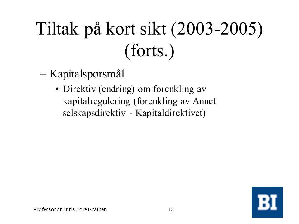 Professor dr. juris Tore Bråthen18 Tiltak på kort sikt (2003-2005) (forts.) –Kapitalspørsmål •Direktiv (endring) om forenkling av kapitalregulering (f