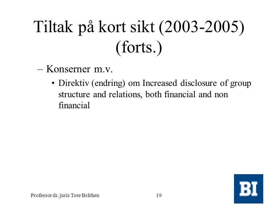 Professor dr. juris Tore Bråthen19 Tiltak på kort sikt (2003-2005) (forts.) –Konserner m.v. •Direktiv (endring) om Increased disclosure of group struc