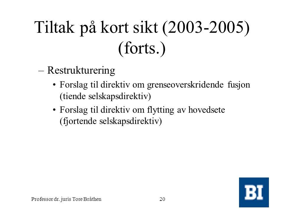 Professor dr. juris Tore Bråthen20 Tiltak på kort sikt (2003-2005) (forts.) –Restrukturering •Forslag til direktiv om grenseoverskridende fusjon (tien