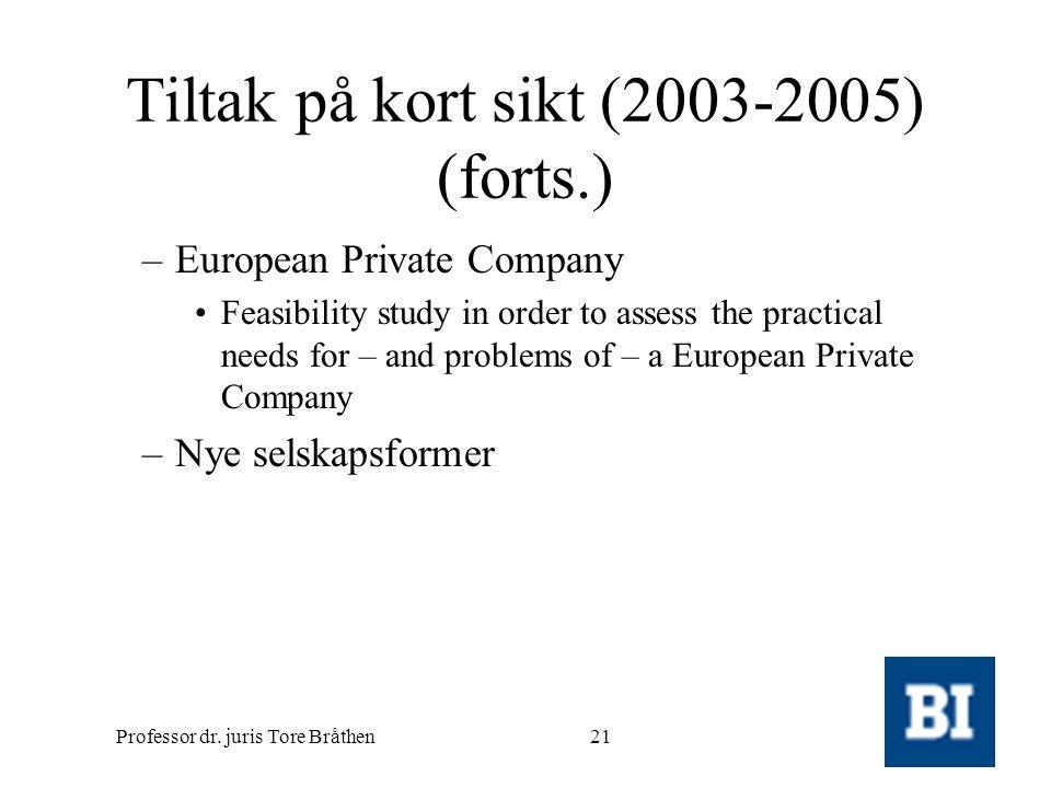 Professor dr. juris Tore Bråthen21 Tiltak på kort sikt (2003-2005) (forts.) –European Private Company •Feasibility study in order to assess the practi