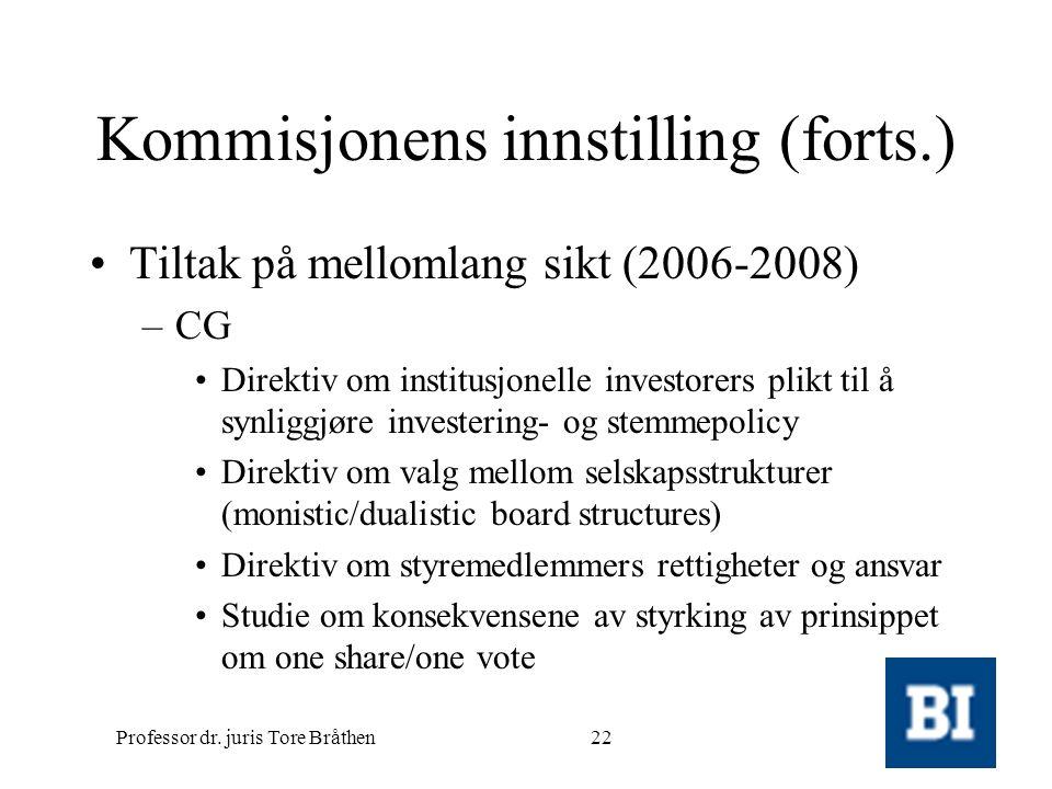 Professor dr. juris Tore Bråthen22 Kommisjonens innstilling (forts.) •Tiltak på mellomlang sikt (2006-2008) –CG •Direktiv om institusjonelle investore