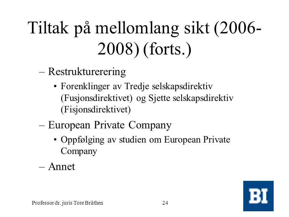 Professor dr. juris Tore Bråthen24 Tiltak på mellomlang sikt (2006- 2008) (forts.) –Restrukturerering •Forenklinger av Tredje selskapsdirektiv (Fusjon