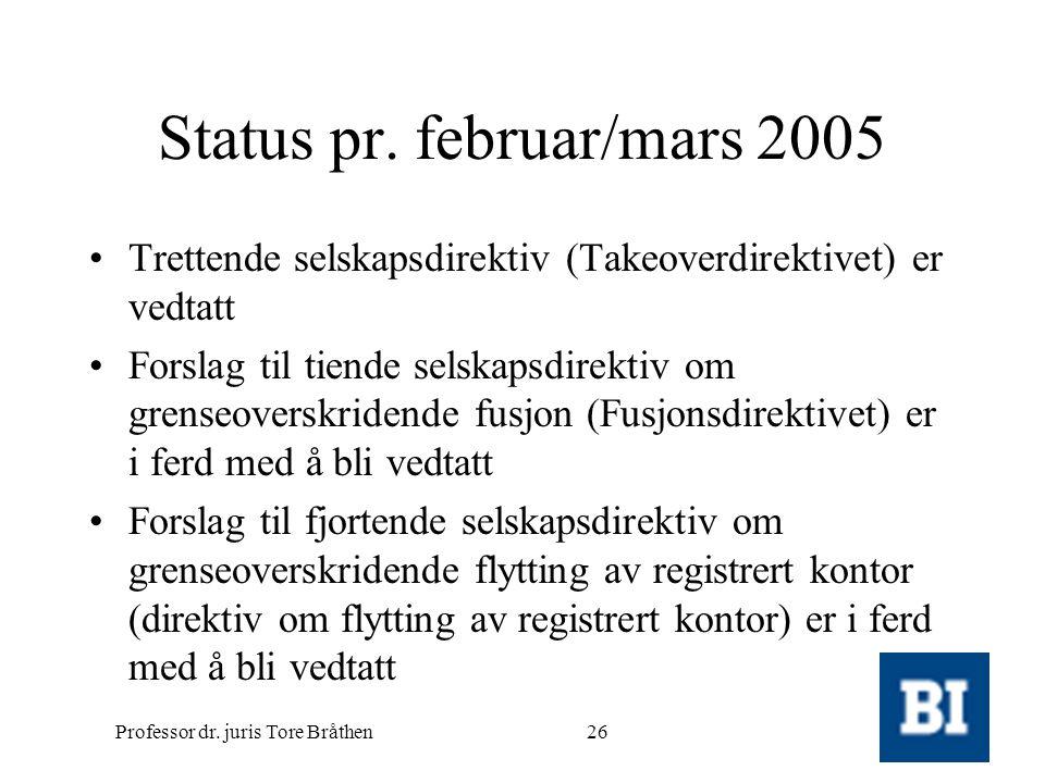 Professor dr. juris Tore Bråthen26 Status pr. februar/mars 2005 •Trettende selskapsdirektiv (Takeoverdirektivet) er vedtatt •Forslag til tiende selska