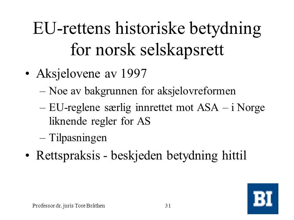 Professor dr. juris Tore Bråthen31 EU-rettens historiske betydning for norsk selskapsrett •Aksjelovene av 1997 –Noe av bakgrunnen for aksjelovreformen