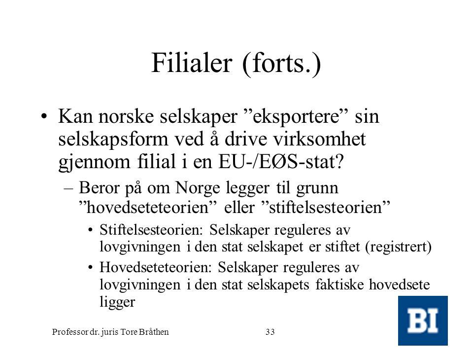 """Professor dr. juris Tore Bråthen33 Filialer (forts.) •Kan norske selskaper """"eksportere"""" sin selskapsform ved å drive virksomhet gjennom filial i en EU"""