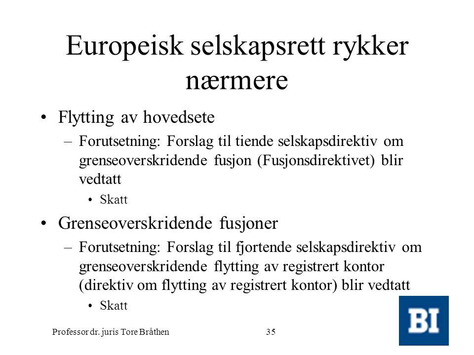 Professor dr. juris Tore Bråthen35 Europeisk selskapsrett rykker nærmere •Flytting av hovedsete –Forutsetning: Forslag til tiende selskapsdirektiv om