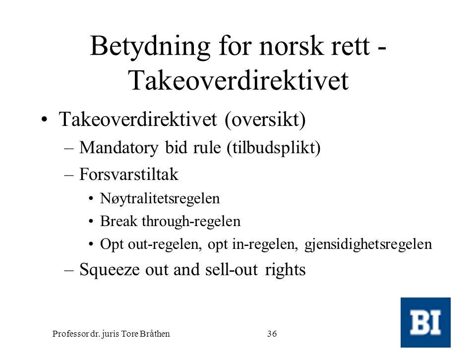 Professor dr. juris Tore Bråthen36 Betydning for norsk rett - Takeoverdirektivet •Takeoverdirektivet (oversikt) –Mandatory bid rule (tilbudsplikt) –Fo