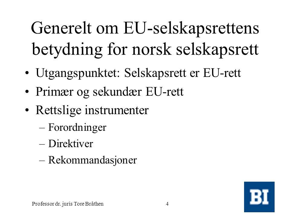 Professor dr. juris Tore Bråthen4 Generelt om EU-selskapsrettens betydning for norsk selskapsrett •Utgangspunktet: Selskapsrett er EU-rett •Primær og
