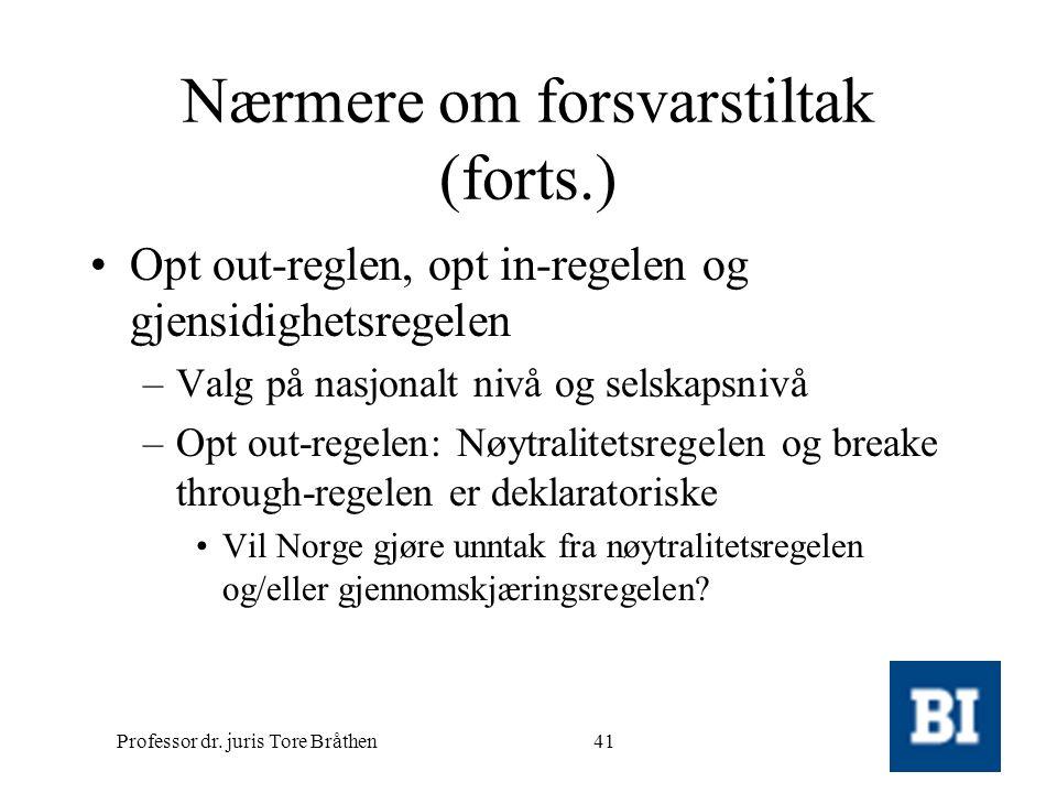 Professor dr. juris Tore Bråthen41 Nærmere om forsvarstiltak (forts.) •Opt out-reglen, opt in-regelen og gjensidighetsregelen –Valg på nasjonalt nivå