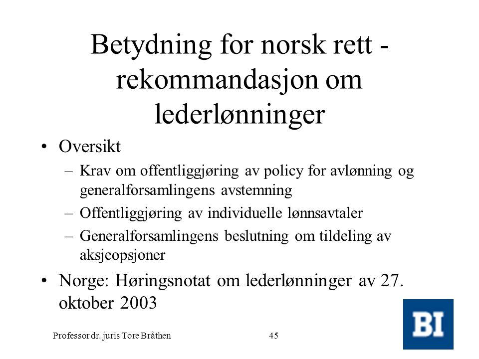 Professor dr. juris Tore Bråthen45 Betydning for norsk rett - rekommandasjon om lederlønninger •Oversikt –Krav om offentliggjøring av policy for avløn