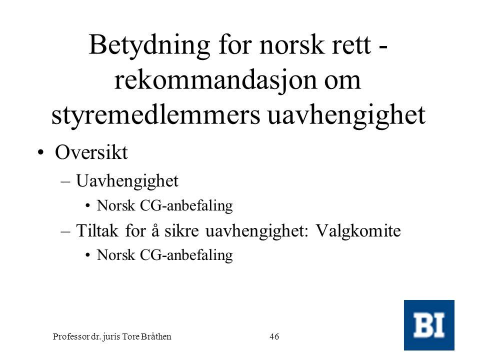 Professor dr. juris Tore Bråthen46 Betydning for norsk rett - rekommandasjon om styremedlemmers uavhengighet •Oversikt –Uavhengighet •Norsk CG-anbefal