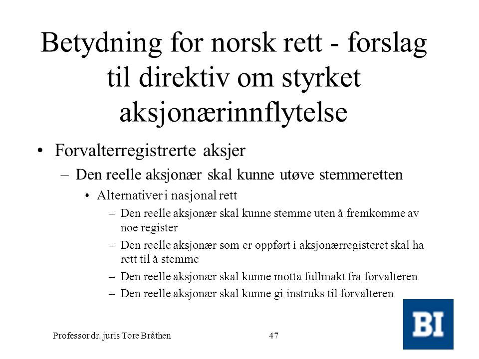 Professor dr. juris Tore Bråthen47 Betydning for norsk rett - forslag til direktiv om styrket aksjonærinnflytelse •Forvalterregistrerte aksjer –Den re