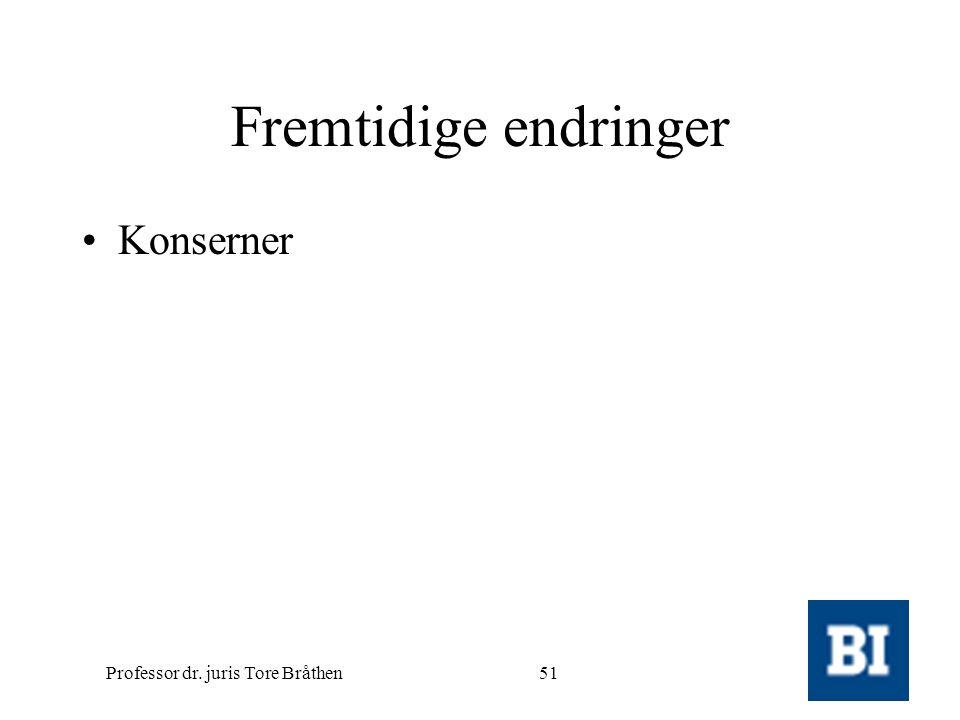Professor dr. juris Tore Bråthen51 Fremtidige endringer •Konserner