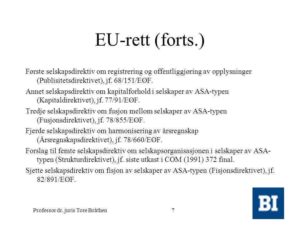 Professor dr. juris Tore Bråthen7 EU-rett (forts.) Første selskapsdirektiv om registrering og offentliggjøring av opplysninger (Publisitetsdirektivet)