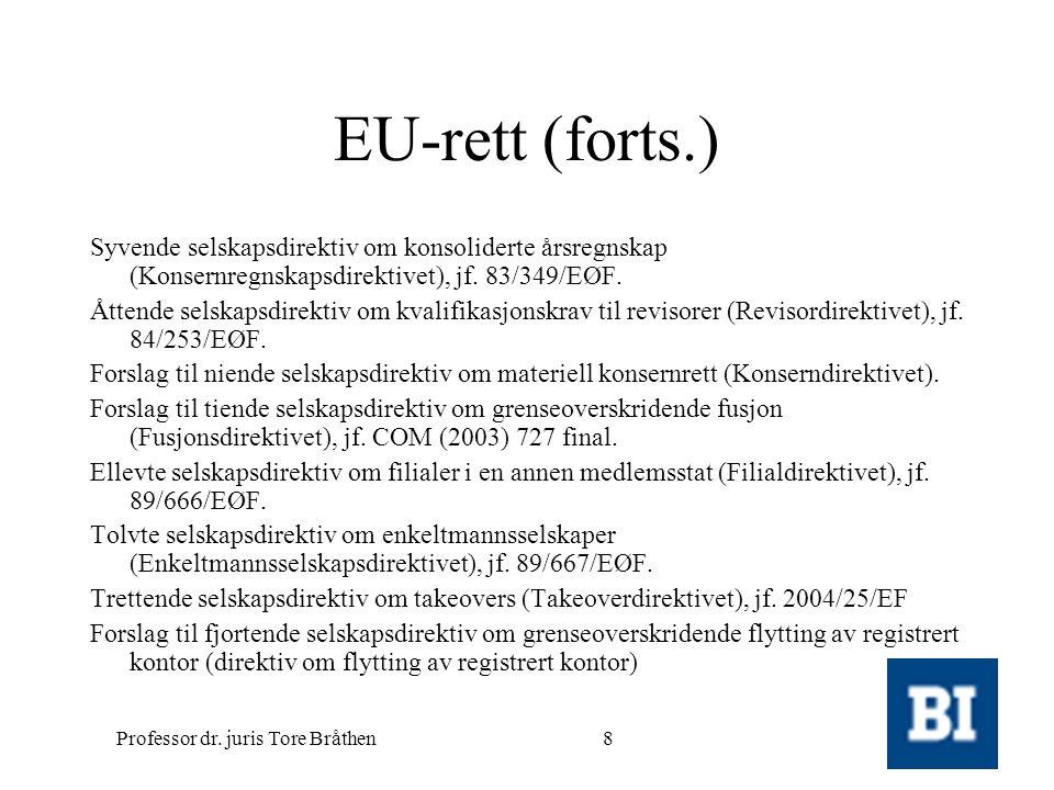 Professor dr. juris Tore Bråthen8 EU-rett (forts.) Syvende selskapsdirektiv om konsoliderte årsregnskap (Konsernregnskapsdirektivet), jf. 83/349/EØF.