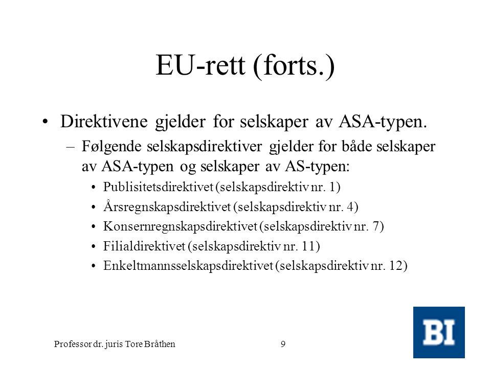 Professor dr. juris Tore Bråthen9 EU-rett (forts.) •Direktivene gjelder for selskaper av ASA-typen. –Følgende selskapsdirektiver gjelder for både sels