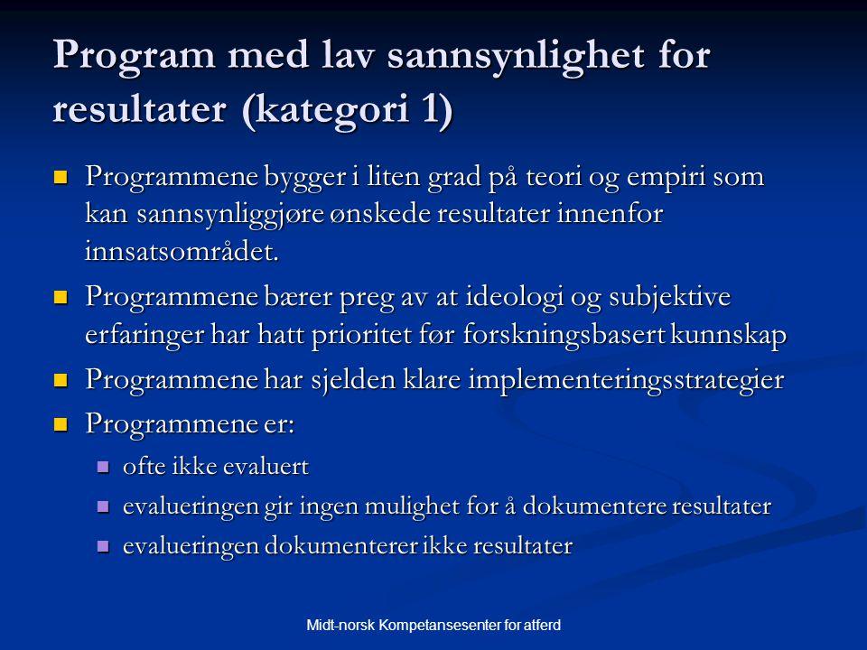 Midt-norsk Kompetansesenter for atferd Program med lav sannsynlighet for resultater (kategori 1)  Programmene bygger i liten grad på teori og empiri