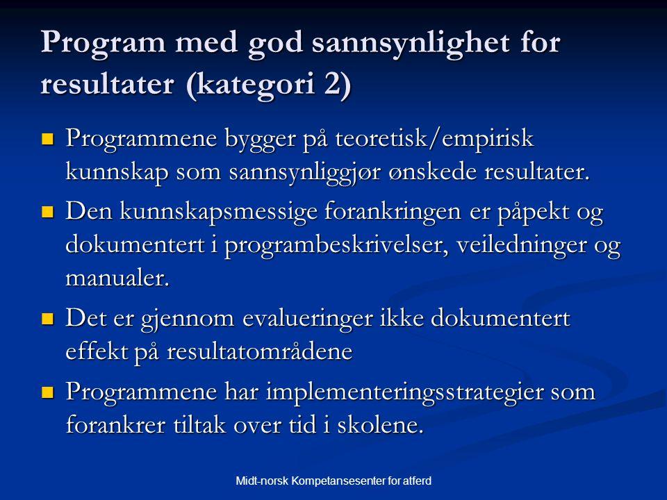 Midt-norsk Kompetansesenter for atferd Program med god sannsynlighet for resultater (kategori 2)  Programmene bygger på teoretisk/empirisk kunnskap s