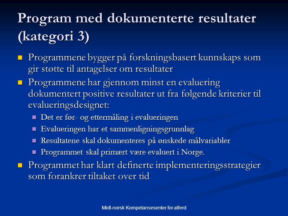 Midt-norsk Kompetansesenter for atferd Program med dokumenterte resultater (kategori 3)  Programmene bygger på forskningsbasert kunnskaps som gir stø