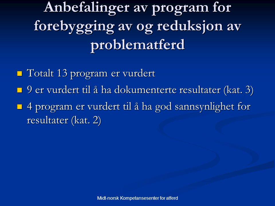 Midt-norsk Kompetansesenter for atferd Anbefalinger av program for forebygging av og reduksjon av problematferd  Totalt 13 program er vurdert  9 er