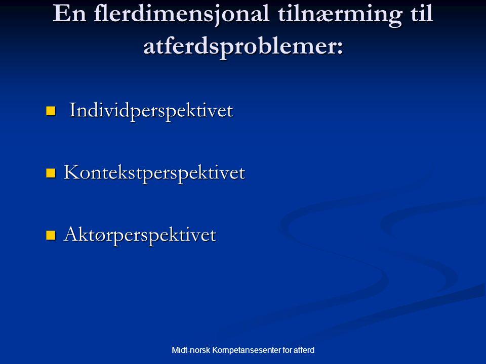 Midt-norsk Kompetansesenter for atferd En flerdimensjonal tilnærming til atferdsproblemer:  Individperspektivet  Kontekstperspektivet  Aktørperspek
