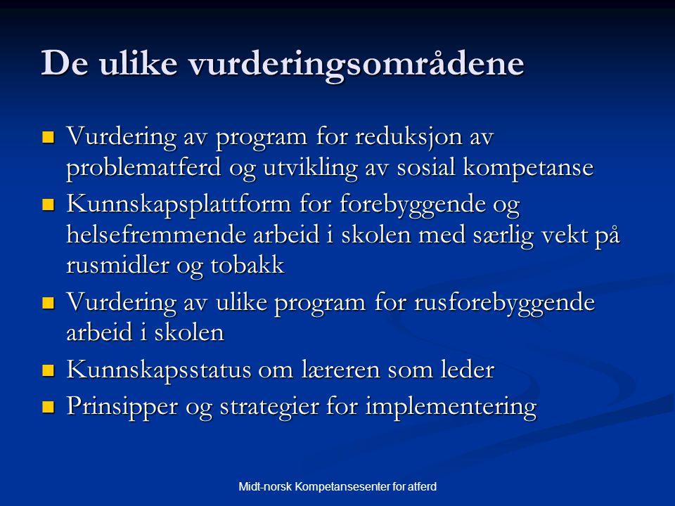 Midt-norsk Kompetansesenter for atferd De ulike vurderingsområdene  Vurdering av program for reduksjon av problematferd og utvikling av sosial kompet