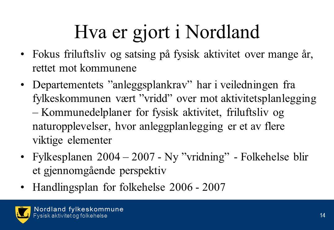 Fysisk aktivitet og folkehelse 14 Hva er gjort i Nordland •Fokus friluftsliv og satsing på fysisk aktivitet over mange år, rettet mot kommunene •Depar
