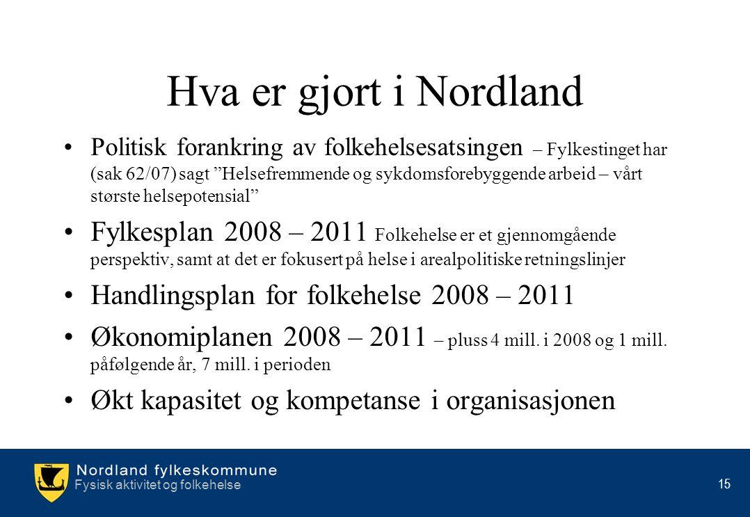 """Fysisk aktivitet og folkehelse 15 Hva er gjort i Nordland •Politisk forankring av folkehelsesatsingen – Fylkestinget har (sak 62/07) sagt """"Helsefremme"""