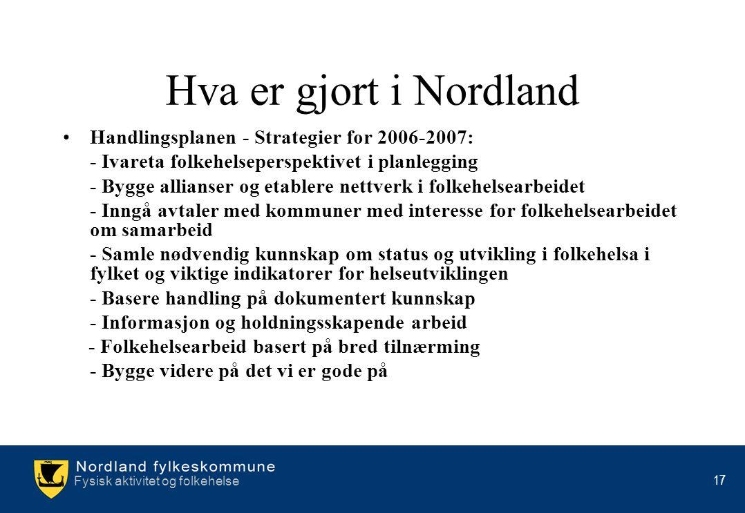 Fysisk aktivitet og folkehelse 17 Hva er gjort i Nordland •Handlingsplanen - Strategier for 2006-2007: - Ivareta folkehelseperspektivet i planlegging