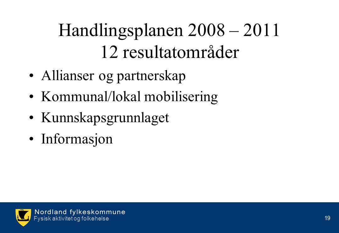 Fysisk aktivitet og folkehelse 19 Handlingsplanen 2008 – 2011 12 resultatområder •Allianser og partnerskap •Kommunal/lokal mobilisering •Kunnskapsgrun