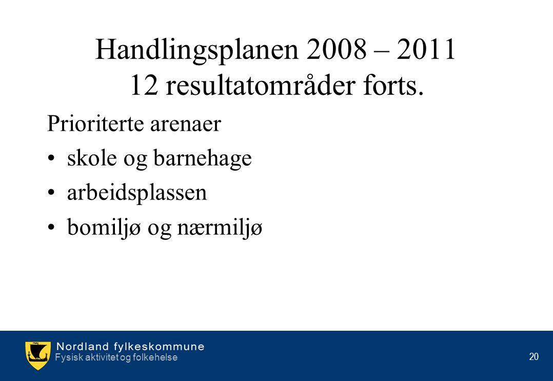 Fysisk aktivitet og folkehelse 20 Handlingsplanen 2008 – 2011 12 resultatområder forts. Prioriterte arenaer •skole og barnehage •arbeidsplassen •bomil