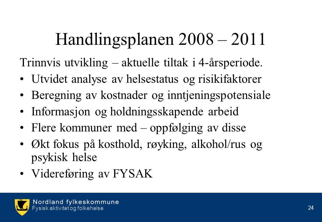 Fysisk aktivitet og folkehelse 24 Handlingsplanen 2008 – 2011 Trinnvis utvikling – aktuelle tiltak i 4-årsperiode. •Utvidet analyse av helsestatus og