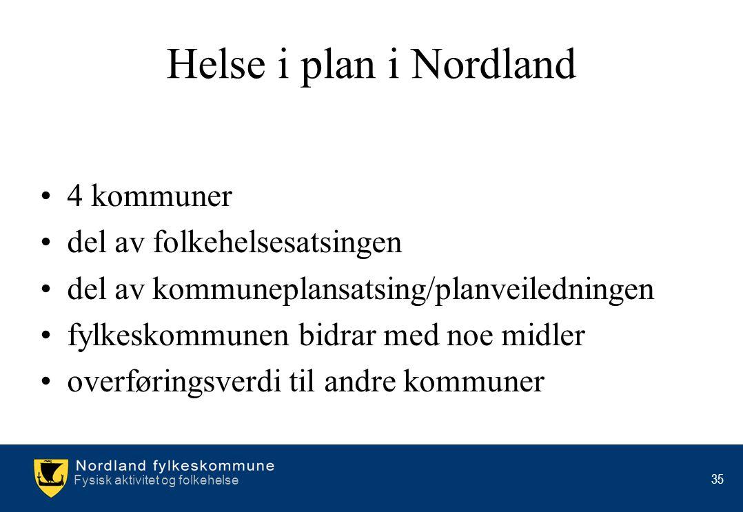Fysisk aktivitet og folkehelse 35 Helse i plan i Nordland •4 kommuner •del av folkehelsesatsingen •del av kommuneplansatsing/planveiledningen •fylkesk