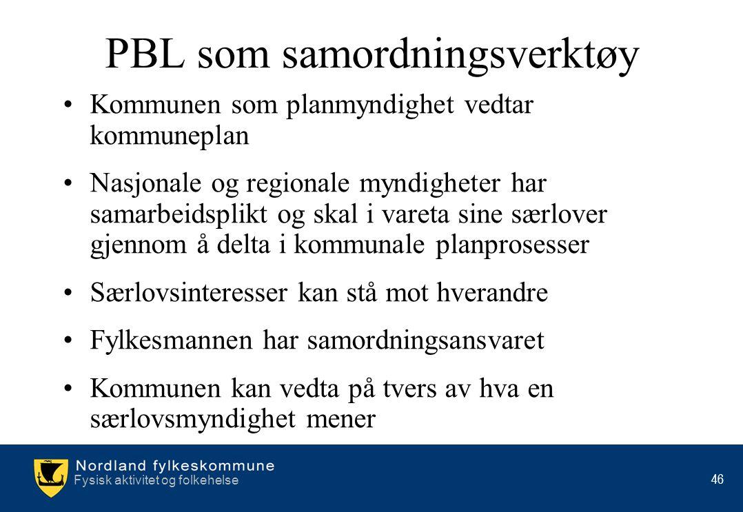 Fysisk aktivitet og folkehelse 46 •Kommunen som planmyndighet vedtar kommuneplan •Nasjonale og regionale myndigheter har samarbeidsplikt og skal i var