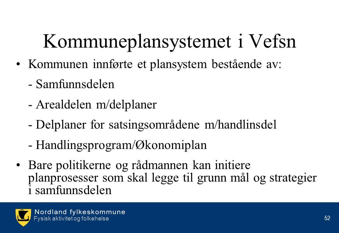 Fysisk aktivitet og folkehelse 52 Kommuneplansystemet i Vefsn •Kommunen innførte et plansystem bestående av: - Samfunnsdelen - Arealdelen m/delplaner