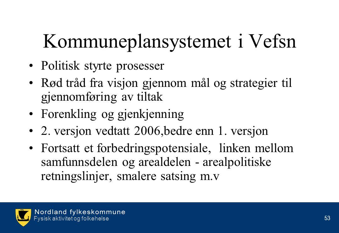 Fysisk aktivitet og folkehelse 53 Kommuneplansystemet i Vefsn •Politisk styrte prosesser •Rød tråd fra visjon gjennom mål og strategier til gjennomfør