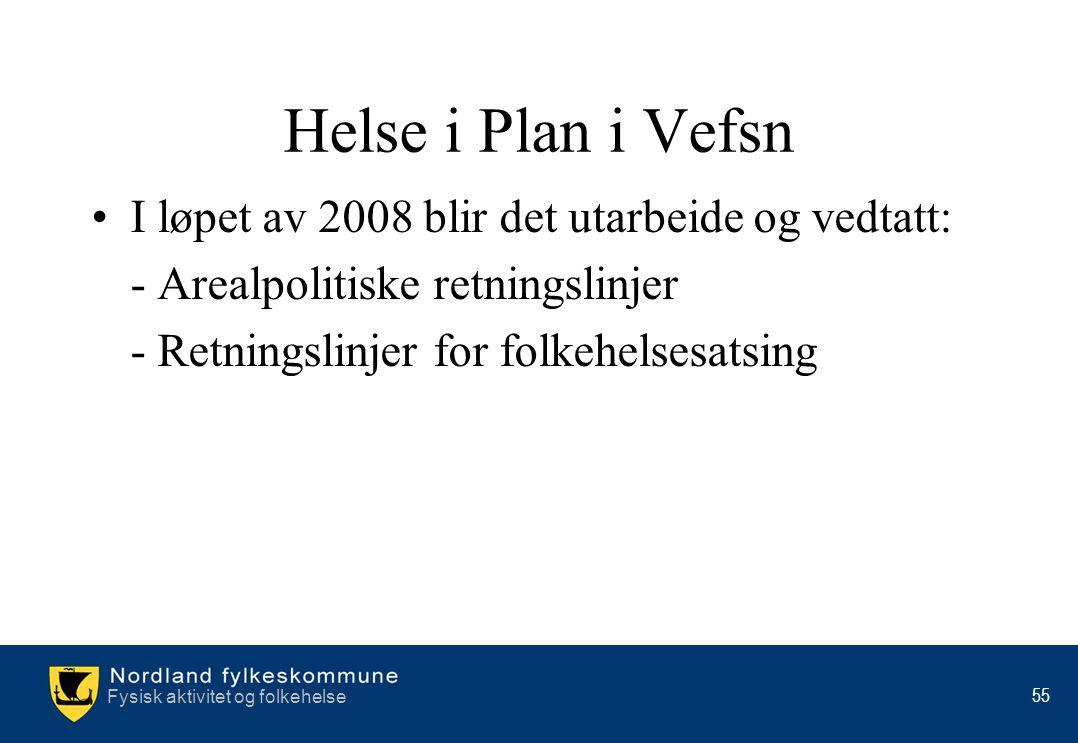 Fysisk aktivitet og folkehelse 55 Helse i Plan i Vefsn •I løpet av 2008 blir det utarbeide og vedtatt: - Arealpolitiske retningslinjer - Retningslinje