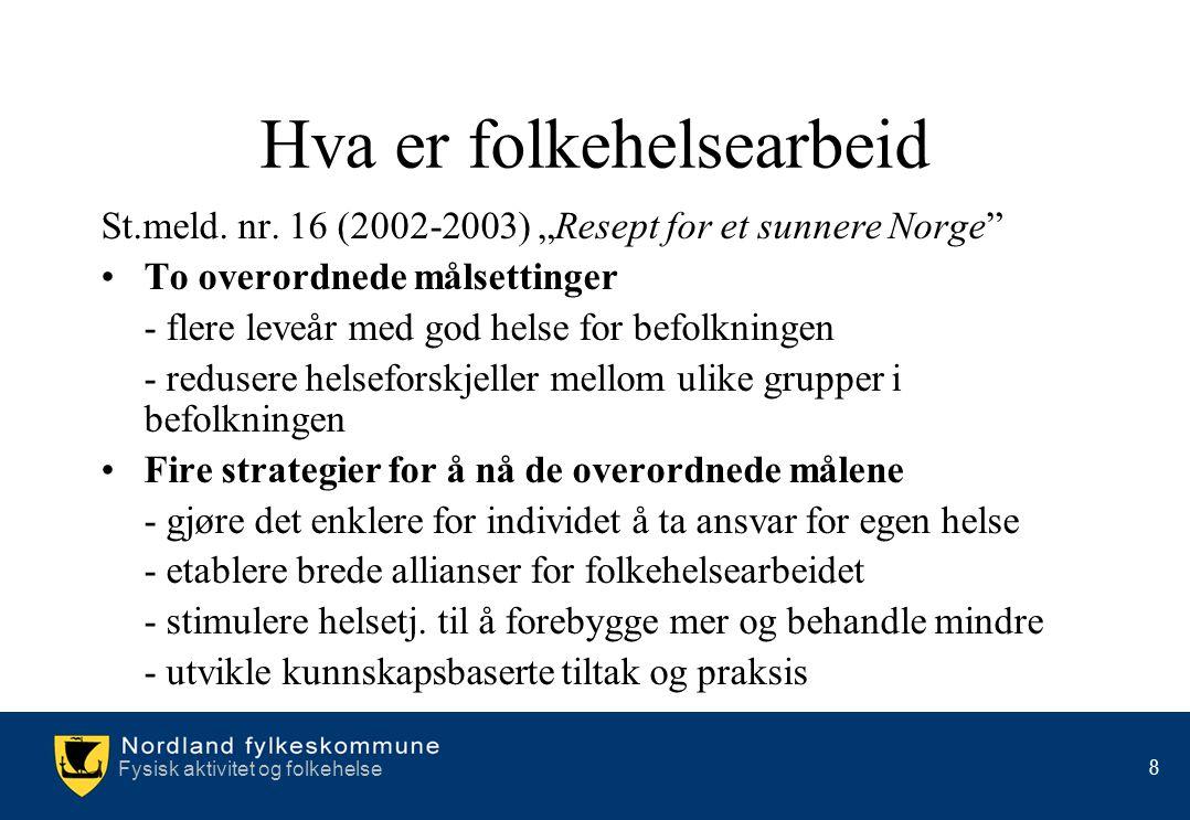 """Fysisk aktivitet og folkehelse 8 Hva er folkehelsearbeid St.meld. nr. 16 (2002-2003) """"Resept for et sunnere Norge"""" •To overordnede målsettinger - fler"""